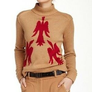 Lamb Camel Red Bird Sweater XS ***
